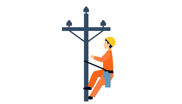 электрик лезет на столб